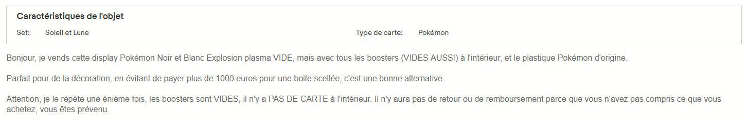 Description annonce ebay Pokémon vide