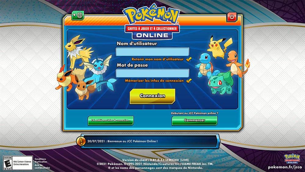 Page de connexion JCC Pokémon Online