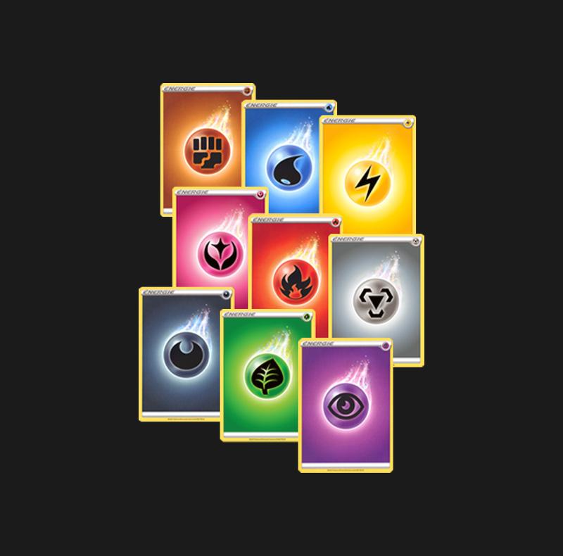 Lot de 50 cartes énergies Pokémon